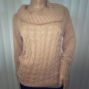 Banana Republic S Cowl Neck Cable Sweater Camel
